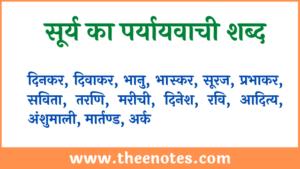 Surya ka paryayvachi shabd